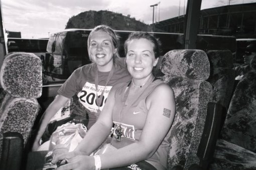 Lindsay (left) and Jamie (right) after their first half-marathon