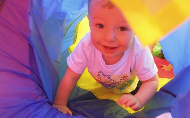 Jackson crawling through a tunnel