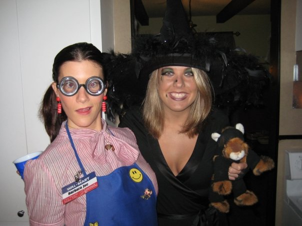 Walmart Lady (Sarah) and Witch with black cat (Me).